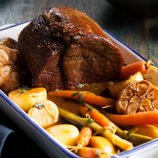 Pot-roasted Beef In Red Wine With Baby Veg And New Potatoes