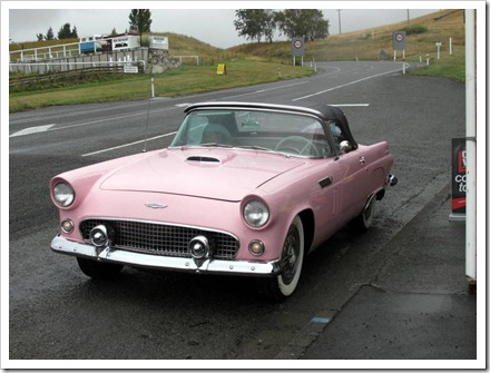 Immaculate Ford Thunderbird convertible at Waikari.