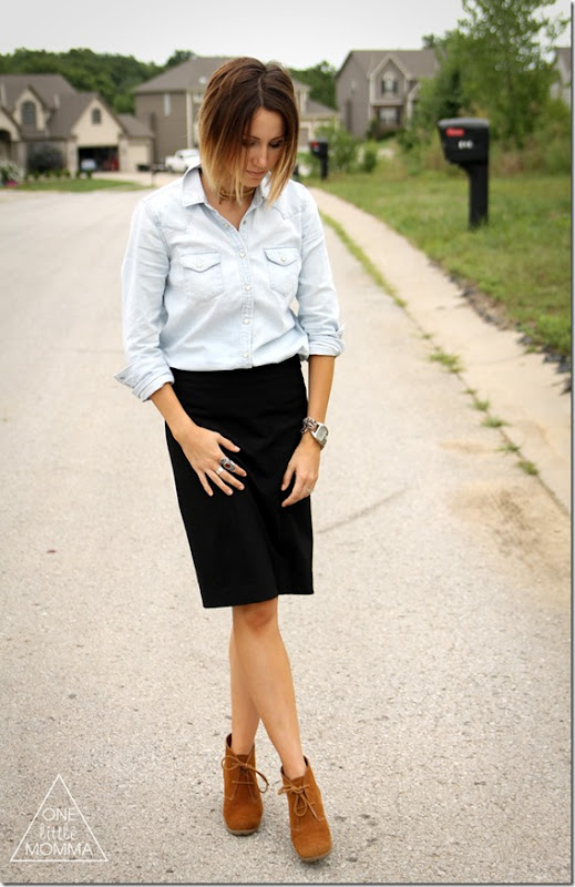 Perfect combination of basics- chambray or denim shirt, black pencil skirt and brown ankle boots.