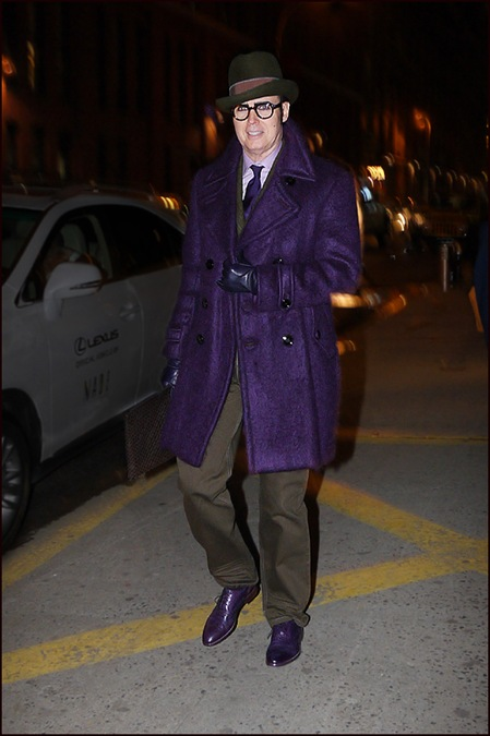 1 Patrick McDonald Purple YSL coat matching shoes brown suit hat ol