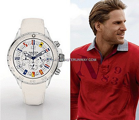 NAUTICA CERAMIC WATCH NST CHRONO SPORT MODEL 2013 SPRING SUMMER NAUTICAL TIMEPIECE ADVENTURE maritime signal flags hour markers dial signature J-class logo crown 48mm case chronograph water repellent scratch resistant leather