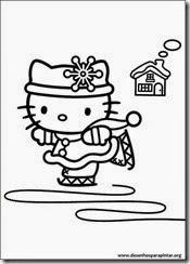 Hello Kitty de Natal desenhos para imprimir colorir e pintar
