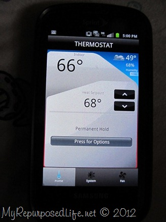 thermostat stats on phone