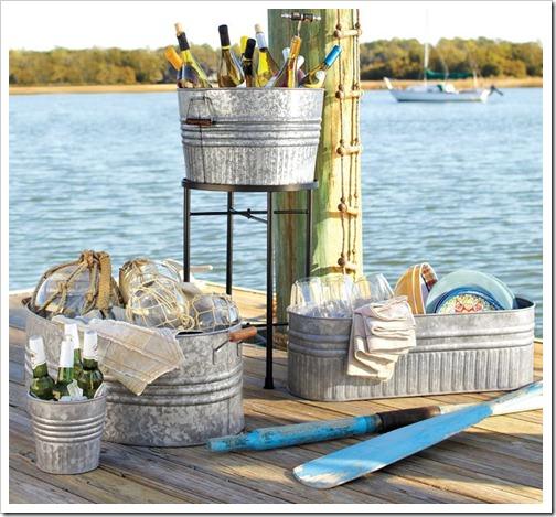 Buckets on dock
