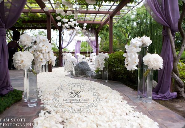 Ceremony-japanese-friendship-garden-white-purple-wedding-karen-tran2 karen tran