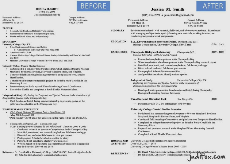 Before and After Professional Environmental Scientist Resume Judi Fox