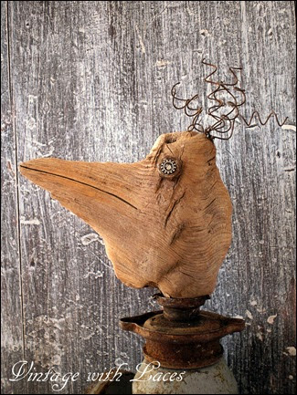 Found Object Art  - Bird Assemblage by Vintage with Laces