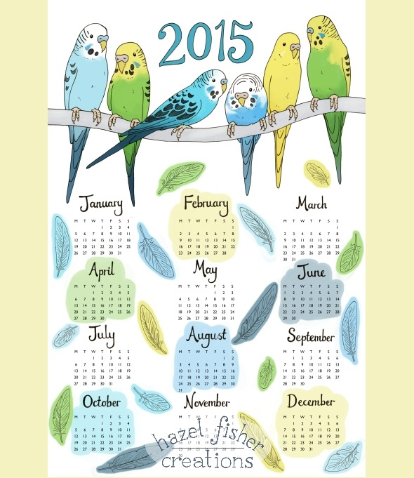 2014 November 02 budgie tea towel calendar spoonflower contest hazel fisher creations