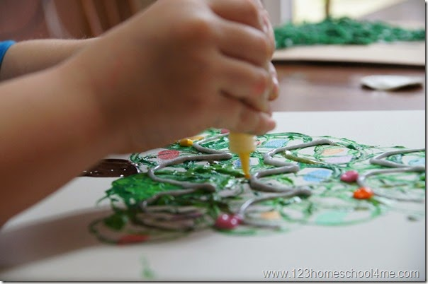 use puffy paint to add garland and ornaments