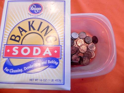 using baking soda to shine pennies
