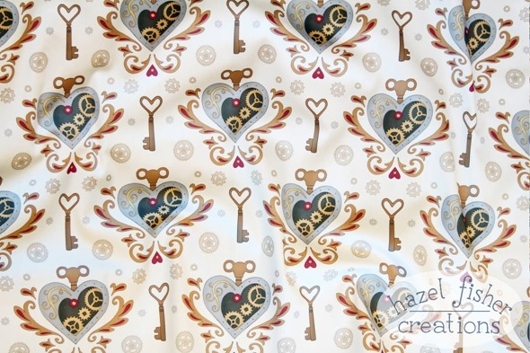 steampunk valentine spoonflower contest fabric print contest results hazel fisher creations 13Feb2015