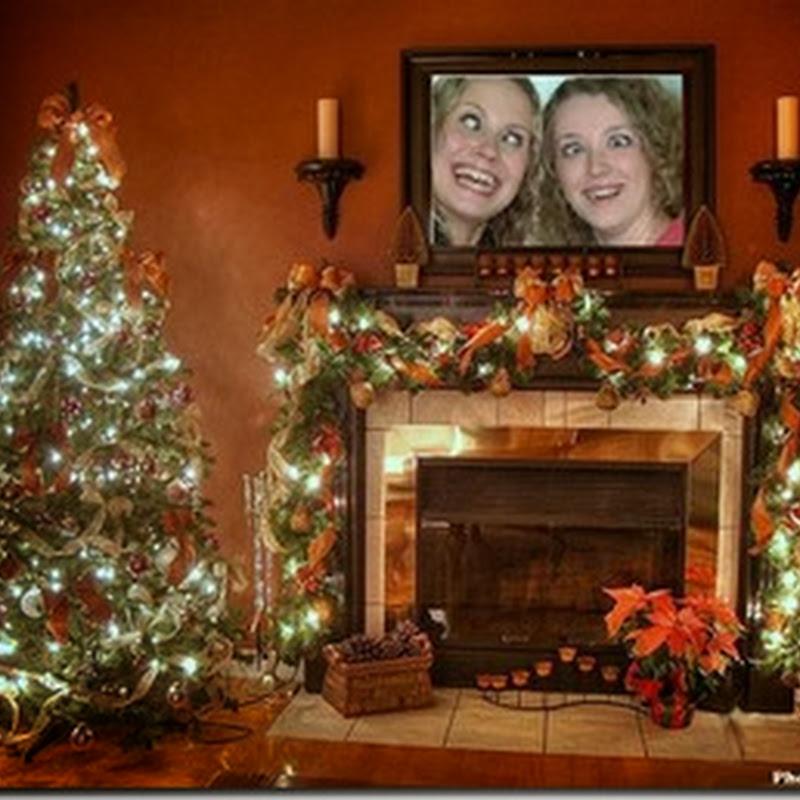 fotomontaje foto en chimenea Navidad