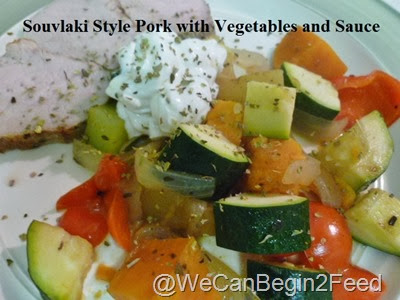 Souvlaki Style Pork with Vegetables and Sauce