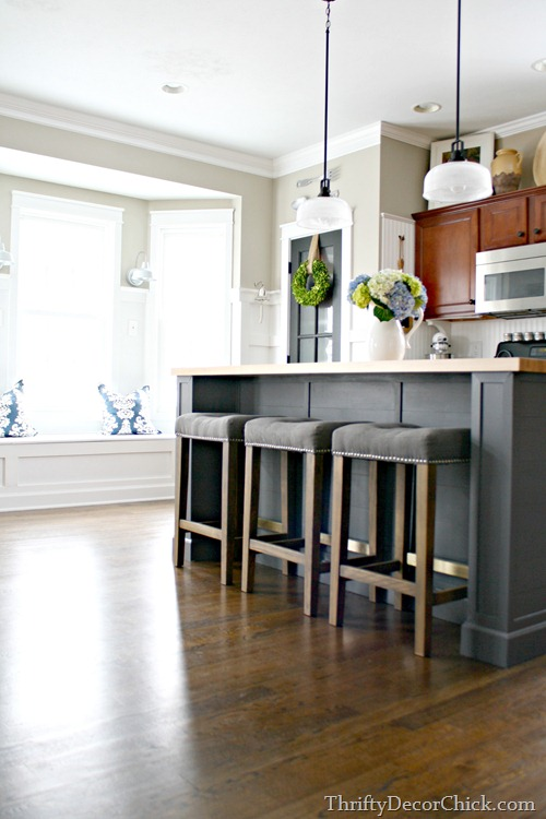 large gray kitchen island