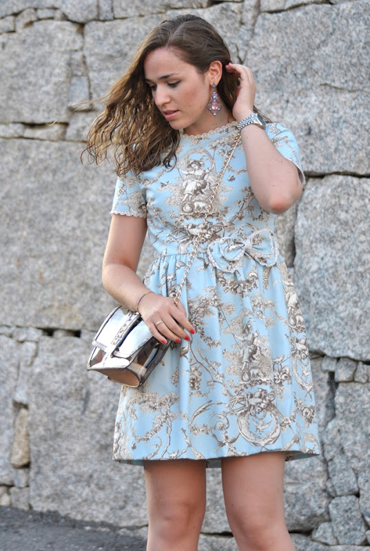 Blue Toile de Jouy Dress