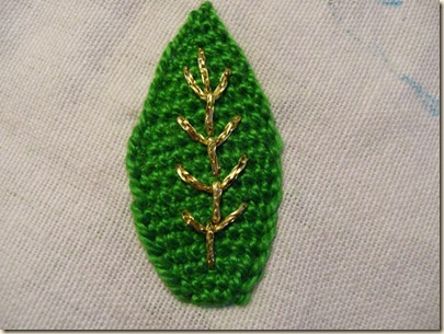 Stem stitch outline leaf