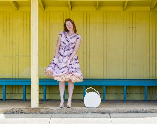 A simple day dress can go from casual to glam with the addition of heels, gloves and the all important crinoline | Lavender & Twill