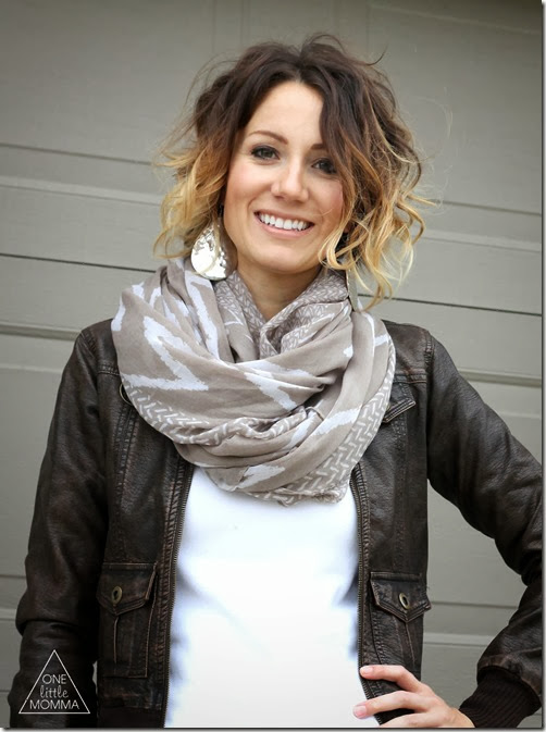 Chocolate leather jacket and mocha scarf