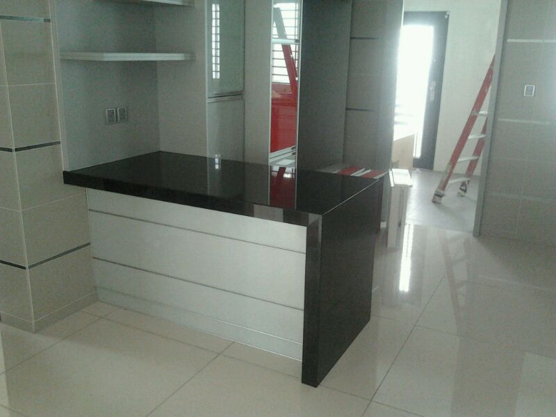 Solid Top Sdn Bhd Dry Kitchen Peninsula Cabinet With Granite Table