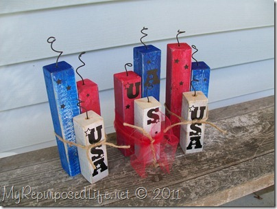 4th of July fire crackers made from scraps
