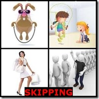 SKIPPING- 4 Pics 1 Word Answers 3 Letters
