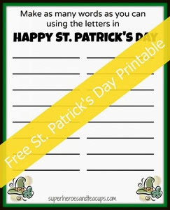 St Patrick's Day Printable from Superheroes and Teacups