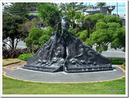 Sculpture celebrating NZ's traditon with Rugby.