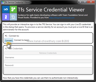 Connect to TFS Service Credential Viewer