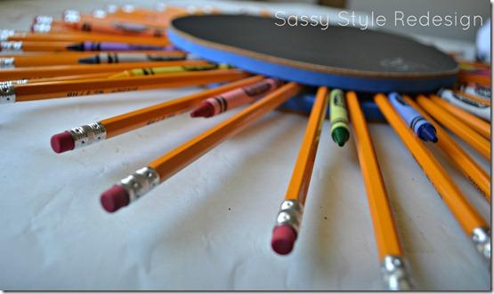 back to school wreath pencil crayon side view