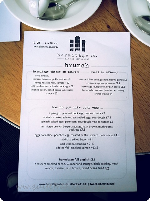 Hermitage Rd Bar Restaurant Sunday Brunch menu
