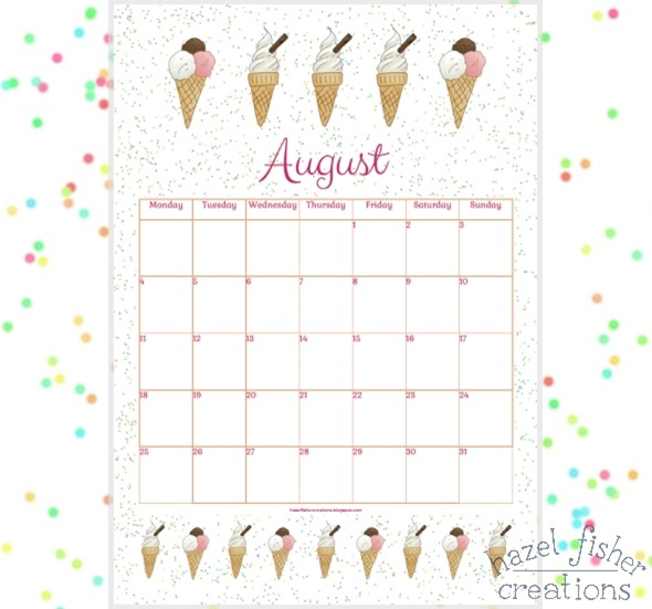 August 2014 free printable calendar ice cream hazel fisher creations