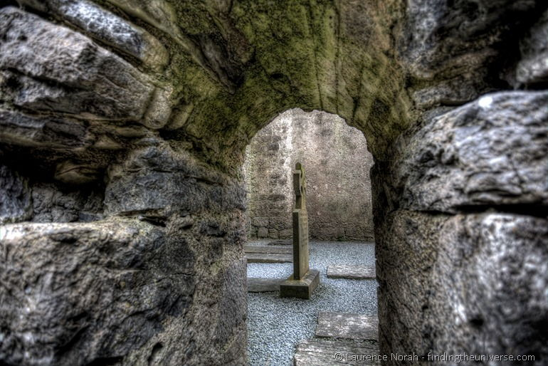 Celtic cross ruined abbey ireland