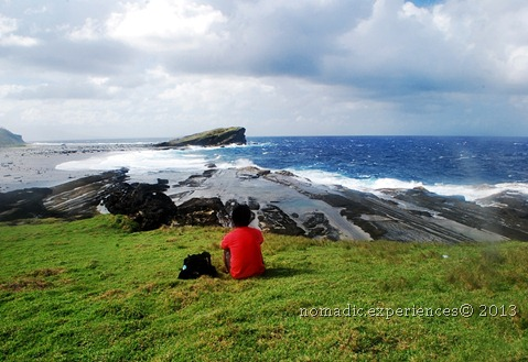 Marveling at the waves off the coast of Biri Island