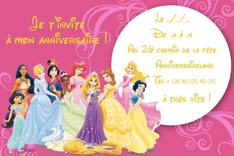 Carte D Invitation Anniversaire Princesse Gratuite A Imprimer