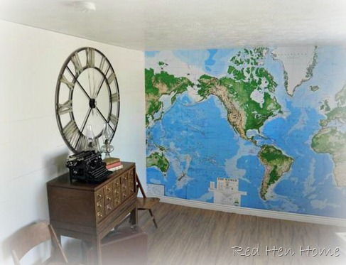 map mural wall Target Pottery Barn knock-off