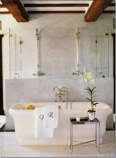 Renea Abbott Of Shabby Slips Of Houston Used What Looks Like Three Marble  Slabs For This Shower. I Love How The Slab Becomes The Half Wall Dividing  The ...