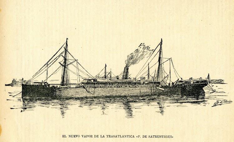 Grabado del vapor PATRICIO DE SATRUSTEGUI. De la revista LA NATURALEZA. AÑO 1894..jpg