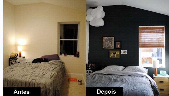 antes e depois decorao com parede preta