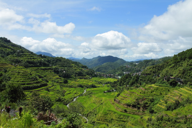 Banaue Ricer Terraces and the Banaue town in the background