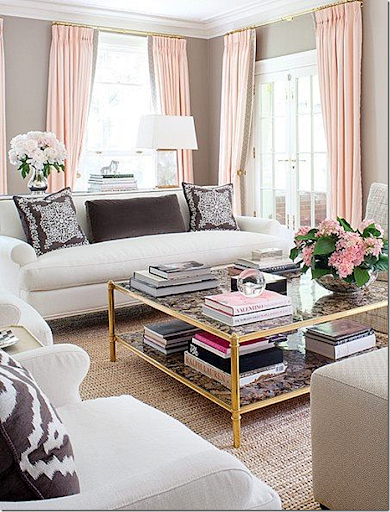 Gold Tables Are Trendy. Love This Room With The Mix Of Taupe And Pink.