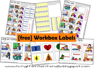 Free printable workbox labels