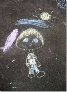 child chalk drawing