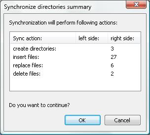 Folder sync summary