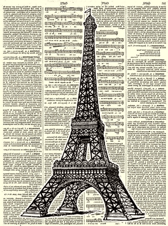 CONFESSIONS OF A PLATE ADDICT Vintage Eiffel Tower Dictionary Graphic reversed