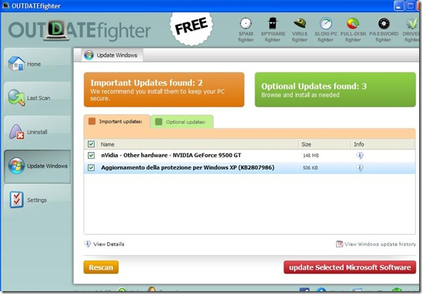 OUTDATEfighter cercare e installare aggiornamenti Windows