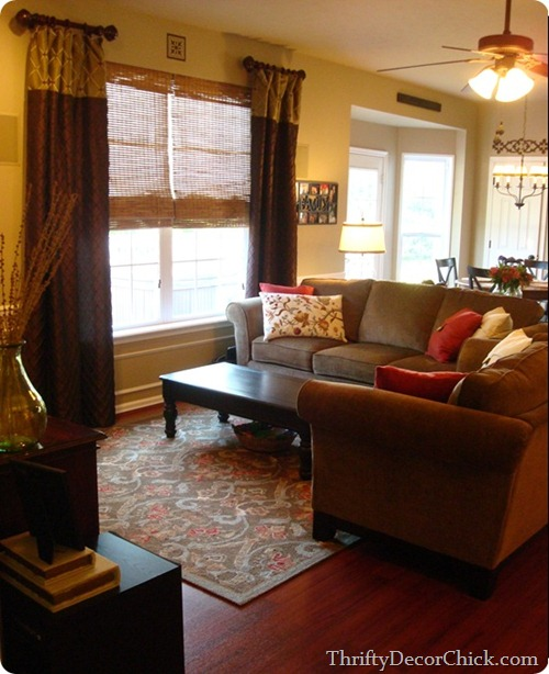 red and brown family room