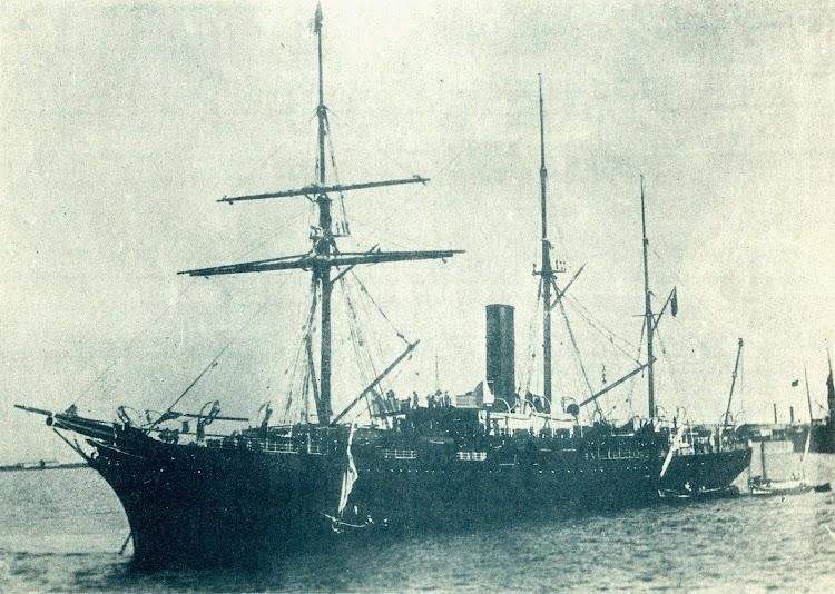 El vapor CIUDAD DE CADIZ en estado de origen. Foto de la revista EL MUNDO NAVAL ILUSTRADO. AÑO 1898.JPG