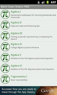 Math Cheat Sheets FREE - screenshot thumbnail
