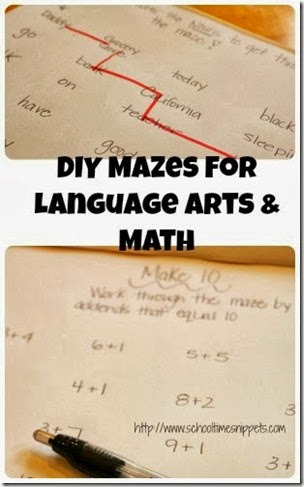 DIY Language Arts & Math Mazes from School Time Snippets
