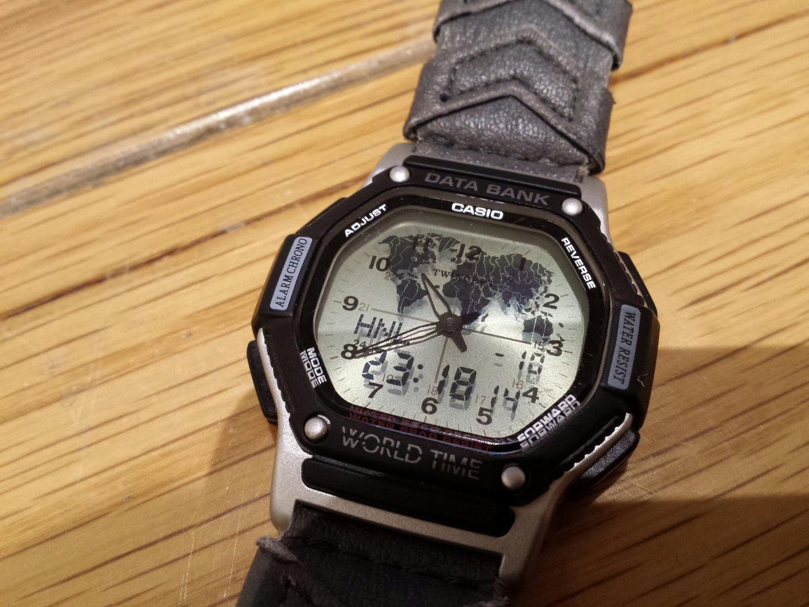 Casio World Map Watch.Which Watch Today Casio Twincept World Time Data Bank Abx 58